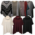 Ladies Poncho Shawl Cape Womens Knitted Jumper Pullover Heart & Soul Winter New