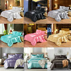 Ice Silk Satin King Queen Twin 1800 Count Quilt Cover Set Fitted Bed Sheet Set image