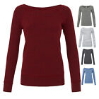 BELLA WOMENS TRI-BLEND SPONGE FLEECE WIDE NECK SWEATSHIRT JUMPER S-XL BL7501