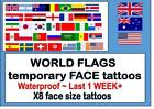 FACE size WORLD FLAGS X8 temporary tattoos football cricket waterproof last1WEEK
