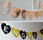 ENGAGED banner BUNTING party decorations SILVER black gold PINK BLUE with RINGS