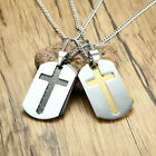 bible dog - Stainless Steel Dog Tag Cross Pendant Mens Necklace with Bible Verse Carving