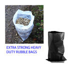HEAVY DUTY POLYTHENE BLACK / CLEAR BAGS SACK RUBBLE BUILDER GARDEN WASTE STRONG