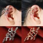 New Women Fashion No Piercing Artificial Diamond Jewelry Leaves Shape Ear K0