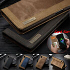 For iPhone X Case Wallet Card Slot Canvas Shockproof Magnetic Flip Cover Stand