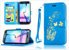 Blue Gilding Butterfly Slim Card slot wallet Flip Leather phone case hand strap