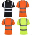 HI VIZ HIGH VISIBILITY CREW NECK REFLECTIVE TAPE SAFETY SECURITY WORK T SHIRT