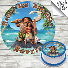 MOANA EDIBLE ROUND BIRTHDAY CAKE TOPPER DECORATION PERSONALISED