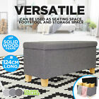 Elegant Ottoman Linen Fabric Solid Wood Foot Stool Cushioned Seat with Storage