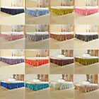 Wrap Around Bed Skirts Drop Solid Color Elastic Bed Skirt Twin Queen King Size image