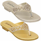 Girls Diamante Sandals Kids Slip On Toe Post Party Slippers Fashion Summer New