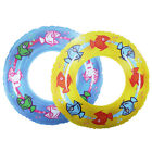 Kids Fish Print Rubber Ring Yellow Blue Swimming Pool Holiday Inflatable Aid