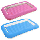 Childs Inflatable Flocked Kiddy Air Bed Pink Blue Sleeping Camping Comfort Aid
