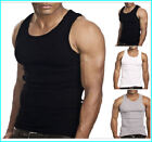 MENS BIG PLUS KING SIZE 100% COTTON FINE RIBBED FITTED VESTS SLEEVELESS GYM