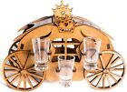 Wooden Shot Glass Bottle Holder Mini Bar Stand With Set of 6 Clear Shots Glass