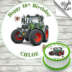 FENDIT TRACTOR EDIBLE ROUND BIRTHDAY CAKE TOPPER DECORATION PERSONALISED