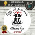 ANNIVERSARY EDIBLE ROUND BIRTHDAY CAKE TOPPER DECORATION PERSONALISED