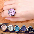 Colorful Unisex Finger Ring Watch Creative Steel Round Dial Elastic Quartz Gift