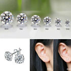 925 Sterling Silver Earrings Stud Cubic Zirconia Round Clear Stone Uk Seller