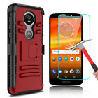 For Motorola Moto E5 Plus/Supra Hybrid Case With Kickstand Clip+Screen Protector