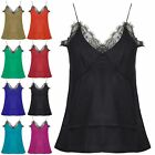Womens Ladies Blouse Floral Lace Mesh Trim Thin Strappy Sleeveless Cami Vest Top