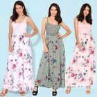 UK Womens Holiday Floral Strappy Long Dress Ladies Summer Beach Maxi Sundress