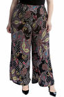 New Womens Plus Size Palazzo Trousers Ladies Paisley Print Pants Wide Bottoms