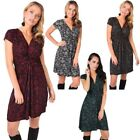 Womens Floral Print Knot Front V Neck Short Skirt Mini Dress Party Casual