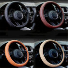 1pc Car Universal Steering-wheel Faux Leather Soft Cover Holder Protector 38cm