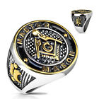 Lucia` Men's Silver Stainless Steel 316 Master Mason Freemason Ring sizes 9-13 D