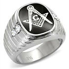Men's Stainless Steel Die Cast 316L Masonic Mason, Clear Crystal Prong Set Ring
