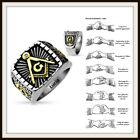 Lucia Men's 316 Silver Stainless Steel Masonic Freemason Square Ring sizes 9- 13