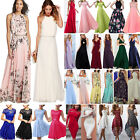 Long Chiffon Lace Evening Formal Party Ball Gown Prom Bridesmaid Dress Short UK