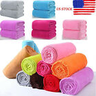 US Super Soft Solid Warm Micro Plush Fleece Throw Blanket Rug Sofa Bedding Solid image