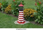 Amish-Made Replica West Quoddy, ME Lighthouses with Solar-Powered LED Lighting!