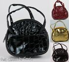 "Black Brown Burgundy Gold Faux Alligator Tote Purse for 18"" American Girl Doll"