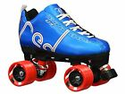 Blue Labeda Voodoo U3 Quad Roller Speed Skates Customized w/ Red Dart Wheels