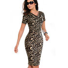 Women's V-Neck Short Sleeve Business Pencil Professional Dress B452