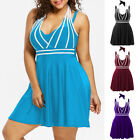 Plus Size Womens Tankini Color Block Halter Swim Dress Swimsuit Swimwear Padded