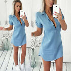 Women Vintage Loose Casual Jeans Dress Short Sleeve Party Ny