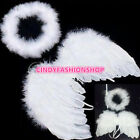 1 set Lovely Baby Kid White Feather Angel Wings with Headband for Birthday Party