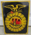 Vintage FFA Sign Future Farmers of America St Louis Button Co metal Black Gold