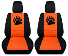 Fit jeep renegade front car seat covers blk-orange w/punisher skull,bear claw..