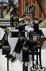 Man in a Café by Spanish Juan Gris. Abstract Wall Art Repro on Canvas or Paper