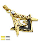 Masonic,Stainless Steel  Pendant, Gold IP Stainless Steel DieCast Large Clasp