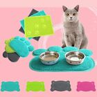 Cat Bowl Mat Dog Pet Feeding Water Food Dish Tray Wipe Clean Floor PVC Placemat