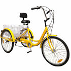 "6-Speed 24"" Adult 3-Wheel Tricycle Trike Cruise Bike Bicycle With Basket"