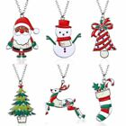 Christmas Tree Snowman Santa Claus Women Pendant Necklace Sweater Chain Jewelry
