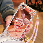 Luxury Bling Diamond Crystal Ring Holder stand Mirror Phone Case Cover & strap 9