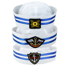 Kids Anchor Striped White Captain Sailors Hat Yacht Navy Marine Cap Costume